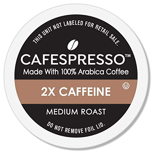 CAFESPRESSO Medium Roast Plus 2X Caffeine Single Serve Coffee Pods for K Cup Keurig 2.0 Brewers, 80Count (Packaging May Vary)