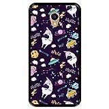 Hapdey Funda Negra para [ Meizu M5 Note ] diseño [ Llama Unicornio en el Espacio, Welcome to The Moon ] Carcasa Silicona Flexible TPU