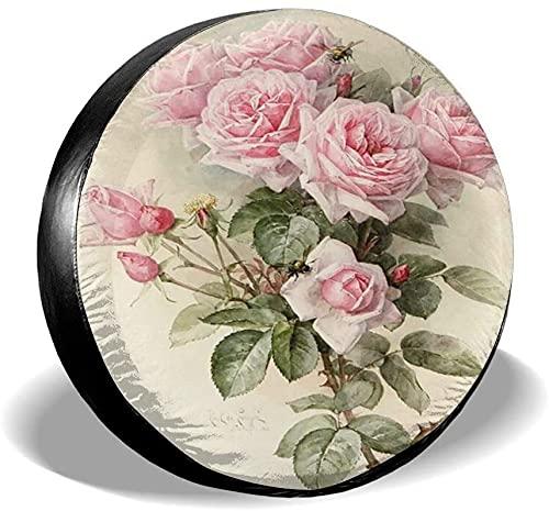 Cubierta de neumático de repuesto de flor rosa vintage,poliéster,universal,17 pulgadas,cubierta de neumático de repuesto para remolque,RV,SUV,camión,camión,camper,accesorios de remolque de viaje