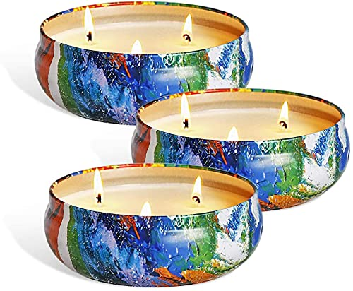 YYCH Citronella Candles, 13.5oz - Candle for Outdoor Indoor - Natural Scented Soy Wax Candles Travel Tin, 3 Wick Candles with 80 Hours Burning Time, 3-Pack Gift Set
