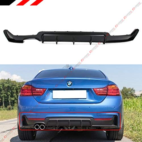 Fits for 2014-2019 BMW F32 F33 F36 4 Series 428i Black Performance Style M Sport Rear Bumper Diffuser W/Left Side Twin Exhaust Tip Opening