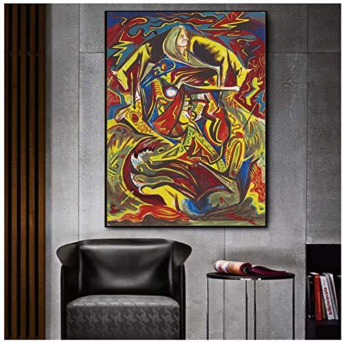 A&D Abstrakte Malerei Poster Jackson Pollock Komposition mit Frau Wandkunst Bild für Wohnzimmer Druck auf Leinwand Dekor -60x90cm kein Rahmen