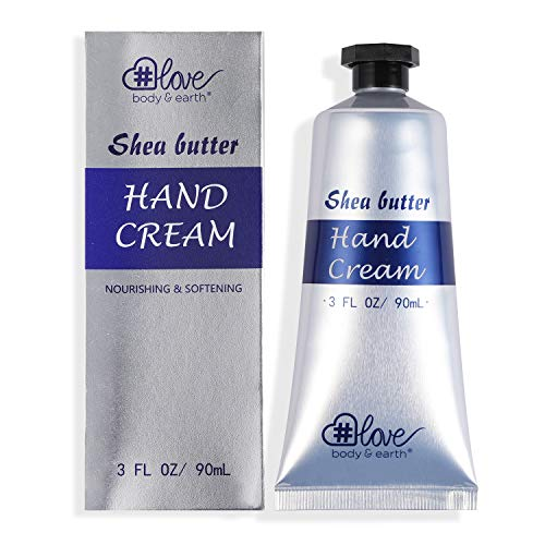 Shea Butter Hand Cream - Body & Earth Love Hydrating Hand Lotion for women, Hand Moisturizer Enriched with Shea Butter and Vitamin E, 3.0 oz/90ml Travel Size Hand Cream, Best Women Gifts