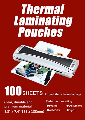 """Halcent 5""""x7"""" Photo Laminating Pouches, 3 mil Laminator Sheets Pouches for Sealed Photo Card Documents, Glossy Laminate Sheet 100-Pack(5.3"""" x 7.4"""")"""