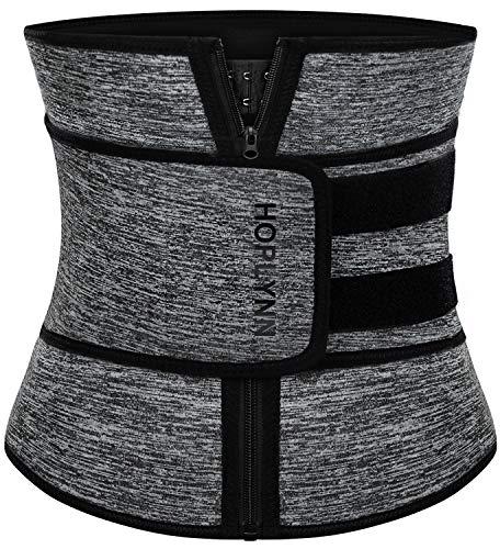 HOPLYNN Neoprene Sweat Waist Trainer Corset Trimmer Belt for Women Weight Loss, Waist Cincher Shaper Slimmer Grey Medium