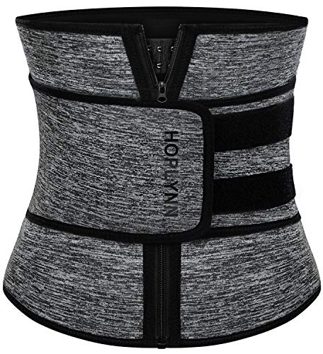 HOPLYNN Neoprene Sweat Waist Trainer Corset Trimmer Belt for Women Weight Loss, Waist Cincher Shaper Slimmer Grey X-Large