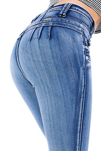 M.Michel Women's Jeans Colombian Design, Butt Lift, Levanta Cola, Push Up, Skinny · Style M951 · Light Blue · Size 0