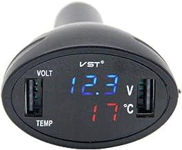 siwetg 3 in 1 12 V Auto accendisigari Presa Splitter Spina Doppio Caricatore USB Tensione Monitor di Corrente per Smartphone Tablet