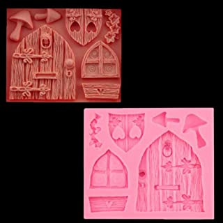 1pc 3D Cartoon House Door Window Mushroom Silicone Mold for DIY Crystal Desserts Soap Mould Pudding Chocolate Cupcake Cake Topper Decor Gum Paste Fondant Handmade Ice Cream Jelly Shots Candy