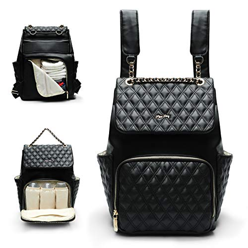 Baby Changing Bag Backpack Miss Fong Nappy Changing Backpack Leather Diaper Bags with Changing Mat Quilted Baby Bags for Mom and Dad Hospital Bag with Stroller Straps Insulated Pockets-Black