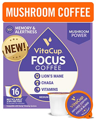 VitaCup® Focus Mushroom Coffee Pods 16ct w/ Lion's Mane & Chaga for Focus, Immune Support & Metabolism in Recyclable Single Serve Pod Compatible with K-Cup Brewers Including Keurig 2.0