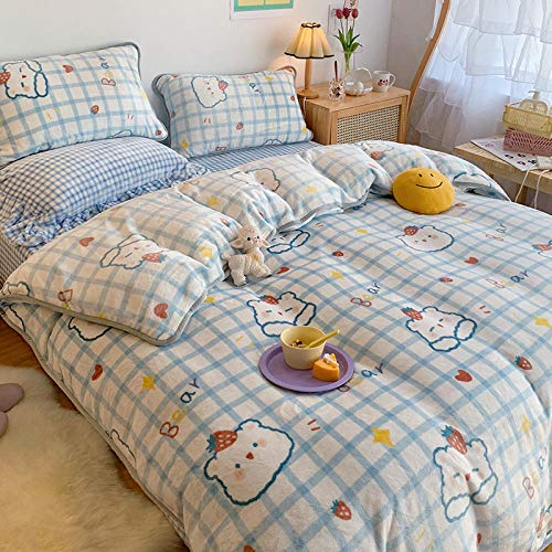 Silky Soft Micro Duvet Cover Set Super King,Coral fleece bed four-piece milk fleece duvet cover winter double-sided warm flannel-Plaid Bear_1.8m bed sheet 200 * 230 4pcs
