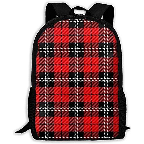 Lmtt Rucksack Buffalo Plaid Tartan Muster Scottish Cage Classic Schwarz Weiß Rot Bookbag Casual Reisetasche für Teen Boys Girls