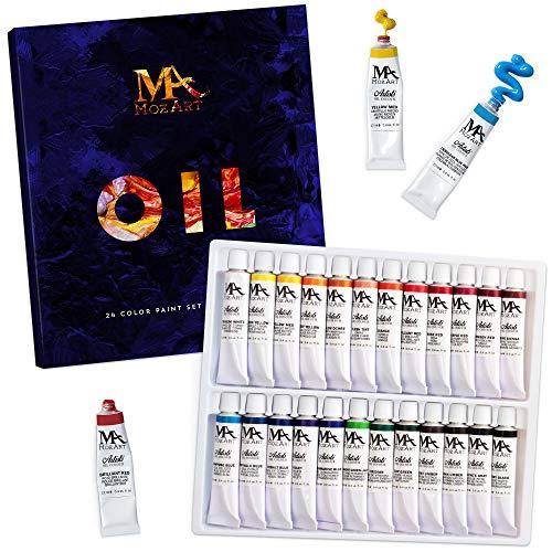 MozArt Supplies Coffret de Peinture à l'Huile – Idéal pour Les débutants et Les Artistes confirmés –24 Tubes de Peinture 12 ML Non Toxiques à Pigmentation élevée Adapté à la Peinture Huile sur Toile