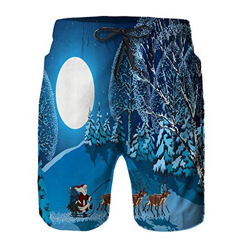 ZHIMI Herren Schnelltrocknend Badehose Beach Shorts,Santa in Schlitten eine Nacht mit Vollmond im Himmel Snowy Winter Xmas Theme Print,Sommer Strand Badeshorts Sport Shorts 4XL