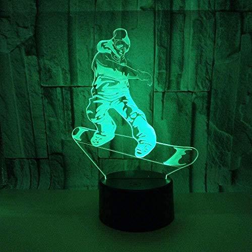 LSDAMN 3D Illusionslampe LED Nachtlicht Snowboard 7 Farbwechsel USB Touch Tischlampe Schlafzimmer Shop Bar Dekoration Kinder Geschenk