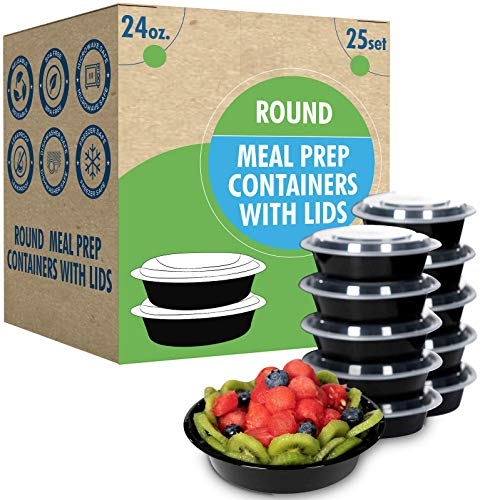 [25 Set- 24oz] Round Meal Prep Containers with Lids Ideal-Lunch Containers, Food Prep Containers, Food Storage Bento Box, Portion Control   Stackable   Microwave   Dishwasher   Freezer Safe.