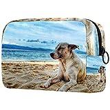 Neceser de Maquillaje para Mujer, Bolso cosmético, Kit de Viaje, Organizador, Perro acostado en la Playa