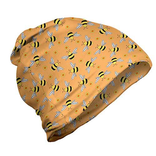 ABAKUHAUS Honingbij Unisex Muts, Vliegen en Hexagon Shapes, voor Buiten Wandelen, Orange Mustard