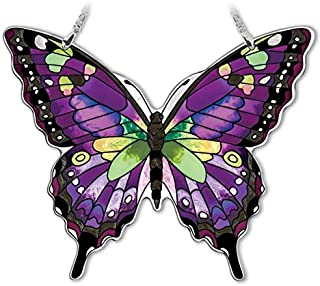 Amia Hand-Painted Glass Butterfly Suncatcher - Purple, Swallowtail (42326)