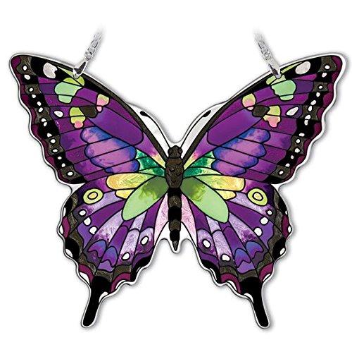 Amia HandPainted Glass Butterfly Suncatcher  Purple Swallowtail 42326