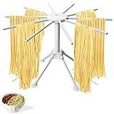 Stendipasta Pieghevole per Pasta Fresca, Stendino per Pasta Fatta in Casa Stendino per Spaghetti e Pasta Plastica Stendipasta con 10 Maniglie Luce Facile da Installare e Memorizzare (Bianca)