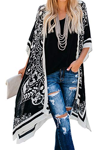 Aleumdr Damen Strandkleid Bikini Cover Up Strandponcho Kimono Cardigan Oversize Bluse Blumen Tops Übergroß Strickjacke Outwear Schwarz One Size