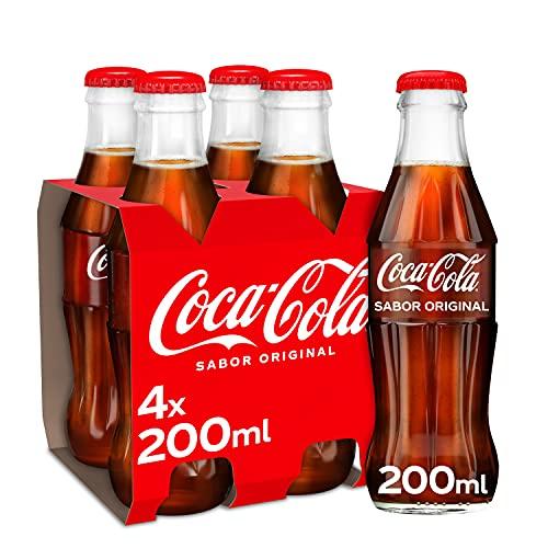 Coca-Cola Sabor Original - Refresco de cola - Pack 4 botellas de vidrio 200 ml