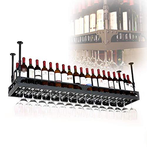 HLL Estantes de Vino, Organice Cocina Vintage Hierro Arte Techo Techo Estantes de Vino Ajustable Altura Titular de Copa de Vino para Bares/Restaurantes/Cocinas Estantería de Decoración,100X35Cm