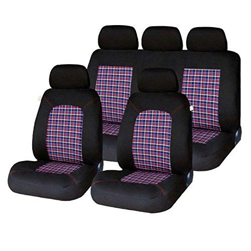 Xtremeauto® Universal Schottenkaro Look Autositzbezüge, komplettes Set, waschbar, Airbag-kompatibel