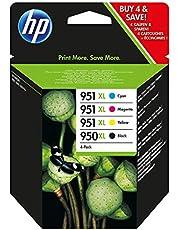HP 950XL-951XL C2P43AE Negro, Cian, Amarillo y Magenta, Cartucho de Tinta de Alta Capacidad Original, para impresoras HP Officejet Pro serie 8600, 8100, 251dw y 276sw