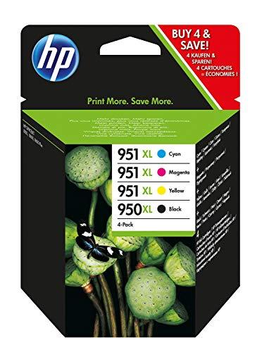 HP 950XL-951XL C2P43AE Negro, Cian, Amarillo y Magenta, Cartucho de Tinta de Alta Capacidad Original, Pack de 4, de 6.800 páginas, para impresoras HP Officejet Pro serie 8600, 8100, 251dw y 276sw
