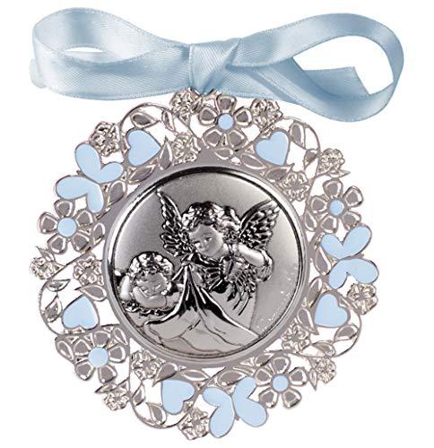 Medalla personalizada de CUNA ó de COCHECITO para bebe de ANGEL DE LA GUARDA terminada en metal y plata bilaminada, esmaltada en. AZUL y barnizada.