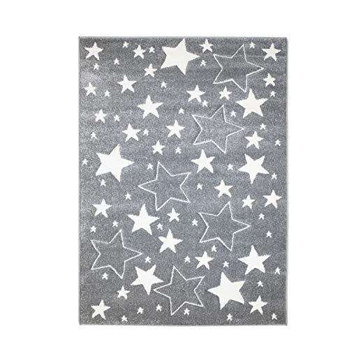 MyShop24h Teppich Kinderzimmer Stern Grau 80x150 cm Kurzflor Kuschelig Deko Kinderteppich für Jungen und Mädchen Oeko Tex 100 Standard