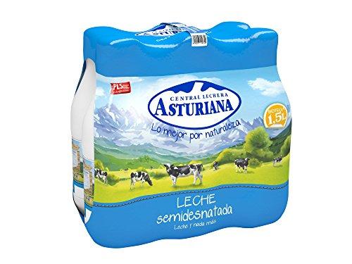 Central Lechera Asturiana - Leche Semidesnatada Botella 1,5L (Pack 6)