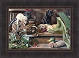 Home Cabin Décor Dog Tired II by Kevin Daniel 17x23 Labrador Black Yellow Lab Puppies Puppy Duck Hunting Decoy Framed Art Print Picture