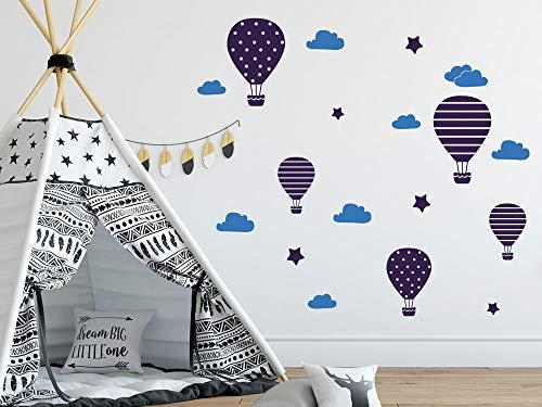 GRAZDesign Wandtattoo Kinderzimmer Heißluftballons mit Wolken (Weiß oder Blau), Aufkleber für Wickelkommode/DIN A4 (2Stück) / 071 grau