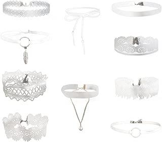 VJGOAL Damen Halskette, 10 Stück Mädchen Halskette Set Stretch SAMT Klassische Gothic Tattoo Spitze Party Choker Frau