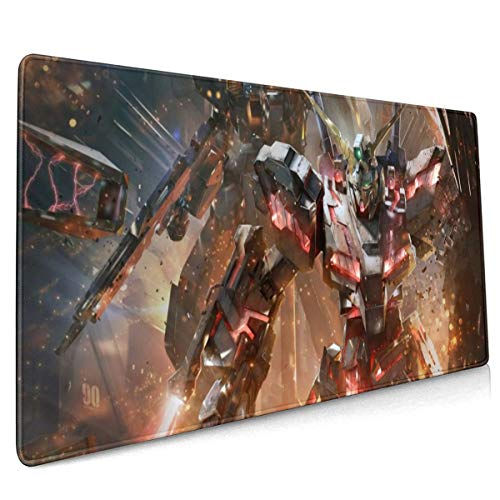 PHOEBE DOHERTY Gundam UC-RX-0'Unicorn Gundam' Anime Mouse Pad 15.7 X 35.4 Inch (40 X 90 cm) Soft Gaming Mouse Mat Ultra Thick 3mm Extended Large