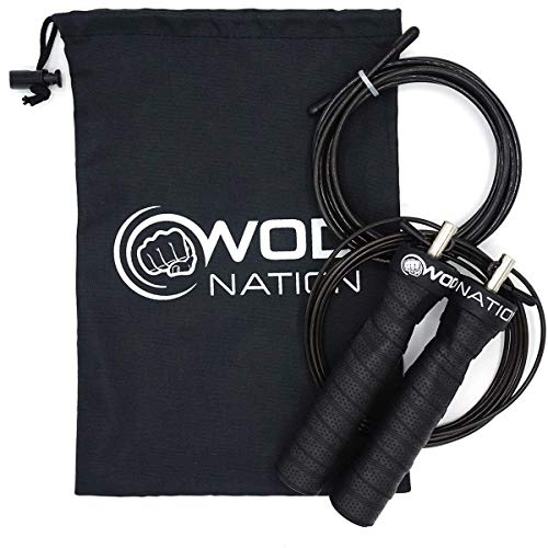 WOD Nation Attack Speed Jump Rope : Adjustable Jumping Ropes : Unique Two Cable Skipping Workout System : One Thick and One Light 11 Foot Cable : Perfect for Double Unders : Fits Men and Women