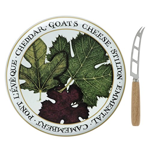 BIA Cordon Bleu Cheese Set - Porcelain Platter And Stainless Steel Knife