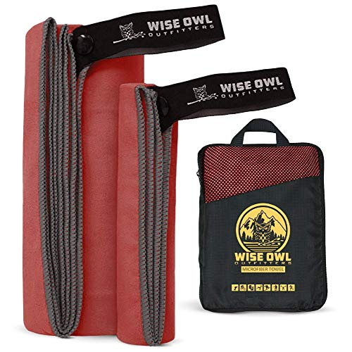 Wise Owl Outfitters Camping Travel Towel - Ultra Soft Compact Quick Dry Microfiber Fast Drying Fitness Beach Hiking Yoga Travel Sports Backpacking - LG Red