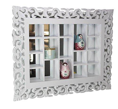 elbmöbel rejilla de espejo, color blanco antiguo, Rústico pared espejo setzkasten Estantería, hecha a mano adornos, coleccionistas vitrina de madera