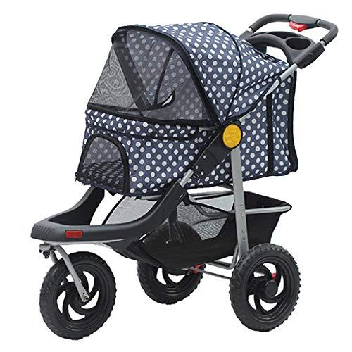 LTLJX Passeggino per Cani, Carrello Carrozzina per Viaggio Gatti Animali Domestici Pieghevole con 4 Ruote Carico Max 20kg,Blu