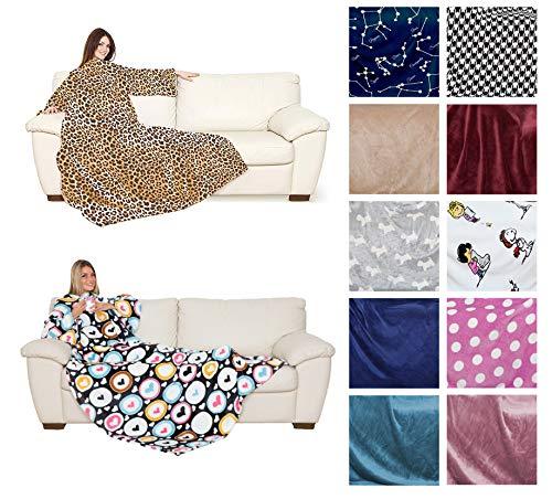 Kuscheldecke mit Ärmeln und Bauchtasche 140x180 cm Kanguru Ultra Soft Sofadecke Wohndecke Fleece Peanuts Bunt