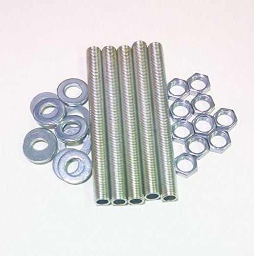 Ricambi lampadari Kit 5 pezzi tubo filettato 10X1 L. 10 cm. più 10 dadi più 10 ranelle