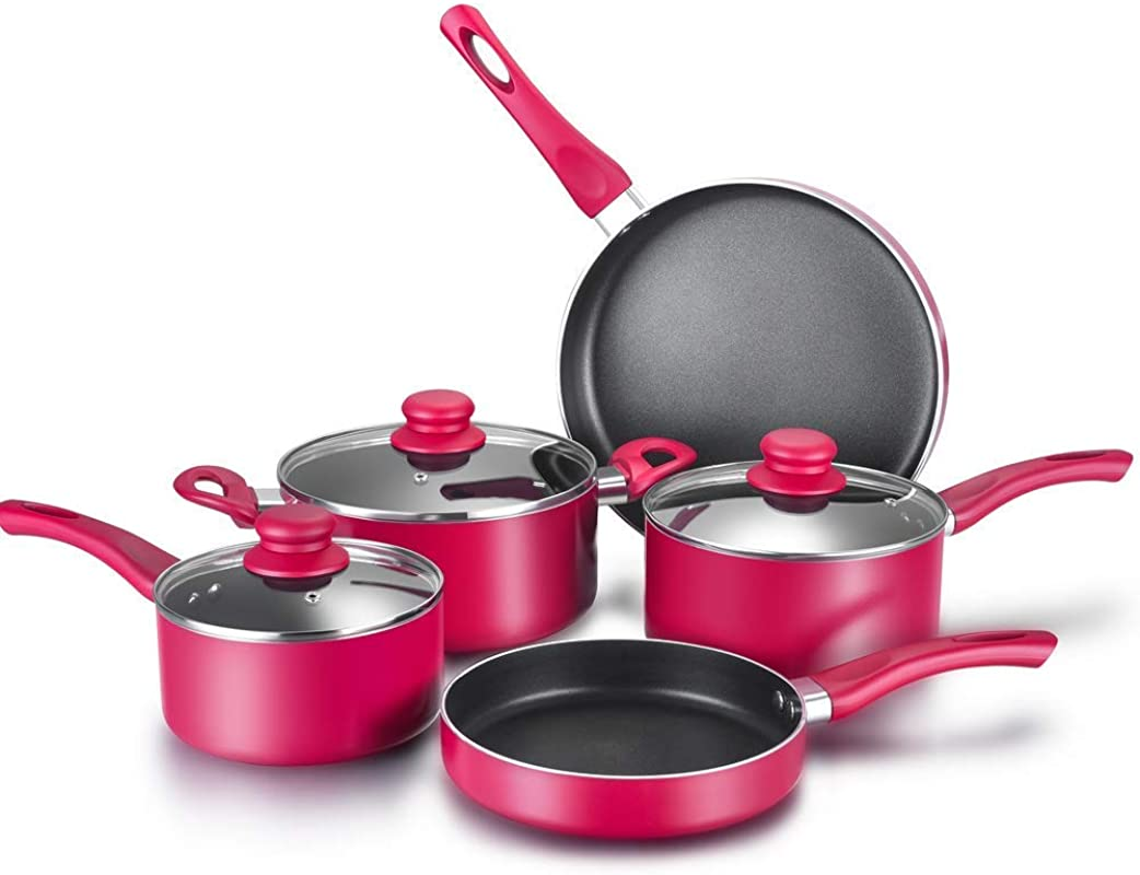 Labor Day Sale Classic 8 Piece Non Stick Cookware Set Pots And Pans Autumn Red 2 Saucepans With Glass Lids 1 Dutch Oven With Glass Lid 2 Fry Pans
