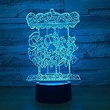 3D Ilusión óptica Lámpara LED LED Luz de Noche Carrusel Decoración Del Hogar Regalo De Cumpleaños Para Niños Habitación De Niños Con interfaz USB, cambio de color colorido