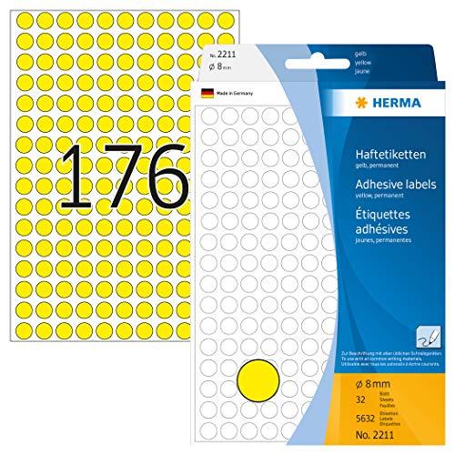 HERMA 2211 Vielzweck-Etiketten / Farbpunkte rund (Ø 8 mm, 32 Blatt, Papier, matt) selbstklebend, permanent haftende Markierungspunkte zur Handbeschriftung, 5.632 Klebepunkte, gelb