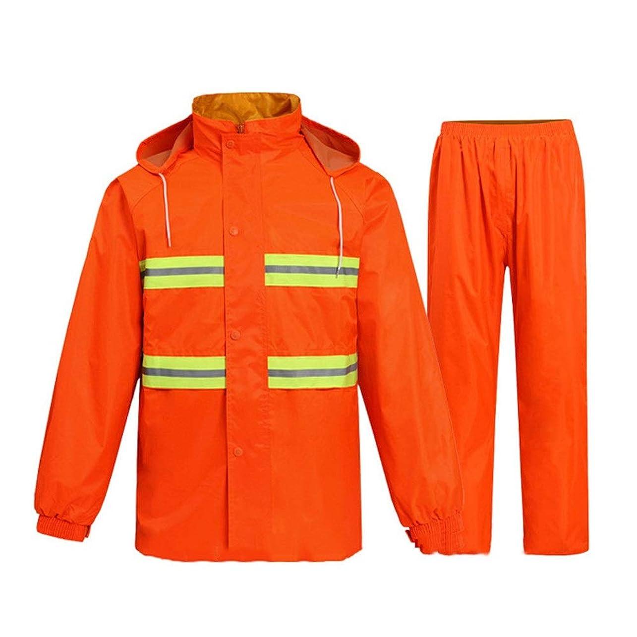 放射するいま呼びかける雨のジャケットレインウェア 乗馬で徒歩のための適切な反射防水レインコートスーツレインコート蛍光レインコートレインパンツ 防水防風高い可視性 (Color : Orange, Size : M)